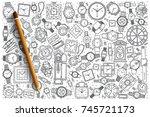 hand drawn watch shop vector... | Shutterstock .eps vector #745721173