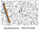 hand drawn home appliances... | Shutterstock .eps vector #745721230