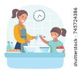 vector cartoon illustration of... | Shutterstock .eps vector #745724386