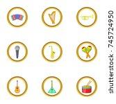 music instrument icons set....   Shutterstock . vector #745724950