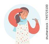 vector cartoon illustration of... | Shutterstock .eps vector #745725100