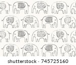 Stock vector hand drawn elephant pattern doodle elephant silhouette line drawing vector seamless background in 745725160