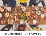 people eat healthy meals at... | Shutterstock . vector #745729660