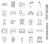 lodging icons set. outline set... | Shutterstock . vector #745730188