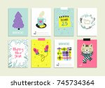 set of hand drawn christmas... | Shutterstock .eps vector #745734364