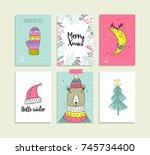 set of hand drawn christmas... | Shutterstock .eps vector #745734400