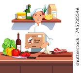 chef cook in hat and uniform... | Shutterstock .eps vector #745735546