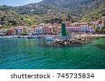 view of the port of the giglio...   Shutterstock . vector #745735834