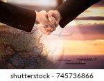 businessman handshake for... | Shutterstock . vector #745736866