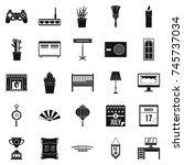 habitation icons set. simple... | Shutterstock . vector #745737034