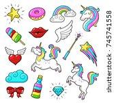 unicorns icon set. cute fantasy ... | Shutterstock .eps vector #745741558