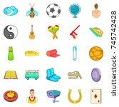 card game icons set. cartoon... | Shutterstock . vector #745742428