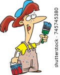 cartoon female painter in... | Shutterstock .eps vector #745745380
