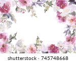 watercolor postcard with gentle ... | Shutterstock . vector #745748668