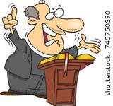 cartoon pastor preaching from a ... | Shutterstock .eps vector #745750390