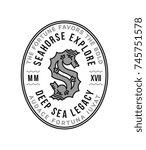 black on white vector seahorse... | Shutterstock .eps vector #745751578