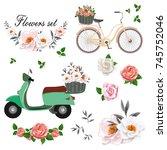 beautiful flowers set. bike and ... | Shutterstock .eps vector #745752046