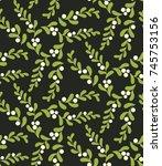 seamless mistletoe pattern.... | Shutterstock .eps vector #745753156
