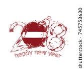 2018 happy new year latvia... | Shutterstock .eps vector #745753630