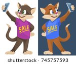 sale. funny cartoon cats in... | Shutterstock .eps vector #745757593
