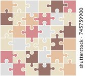 jigsaw colorful puzzle. nude... | Shutterstock .eps vector #745759900