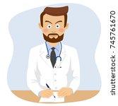 serious mature doctor writing... | Shutterstock .eps vector #745761670
