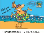cartoon postcard of a man on a... | Shutterstock .eps vector #745764268