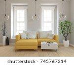 white scandinavian room... | Shutterstock . vector #745767214