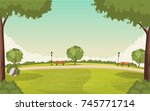 colorful green park. nature... | Shutterstock .eps vector #745771714