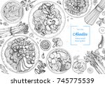 asian food engraved sketch.... | Shutterstock .eps vector #745775539