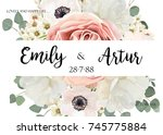 vector floral wedding... | Shutterstock .eps vector #745775884