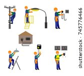 flat icons set of repairmen... | Shutterstock .eps vector #745776466