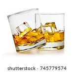 glass of scotch whiskey and ice ... | Shutterstock . vector #745779574
