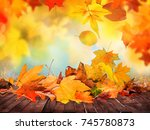 autumn leaves background | Shutterstock . vector #745780873