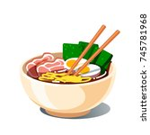 tonkotsu ramen soup bowl with... | Shutterstock .eps vector #745781968