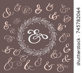 set of calligraphy lettering... | Shutterstock .eps vector #745782064