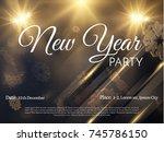 new year stylish golden... | Shutterstock .eps vector #745786150