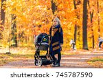 a young mother with a stroller... | Shutterstock . vector #745787590