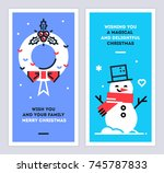 christmas and new year linear... | Shutterstock .eps vector #745787833