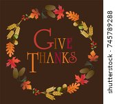 give thanks wreath | Shutterstock .eps vector #745789288