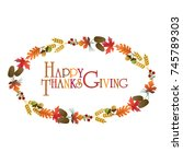 thanksgiving wreath graphic   Shutterstock .eps vector #745789303