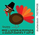 thanksgiving cute turkey... | Shutterstock .eps vector #745789438