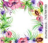 tropical flowers in watercolor... | Shutterstock . vector #745789780