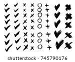 painted brush check mark  cross ... | Shutterstock .eps vector #745790176