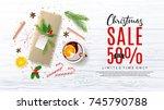 christmas sale promo web banner.... | Shutterstock .eps vector #745790788