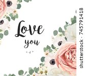 vector floral design card.... | Shutterstock .eps vector #745791418