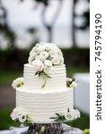 beautiful wedding cake  close... | Shutterstock . vector #745794190