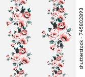 flower roses border. watercolor ... | Shutterstock .eps vector #745802893