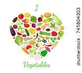 vegetables set  logo  label... | Shutterstock .eps vector #745804303