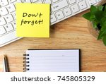 open notepad and sticky notes... | Shutterstock . vector #745805329